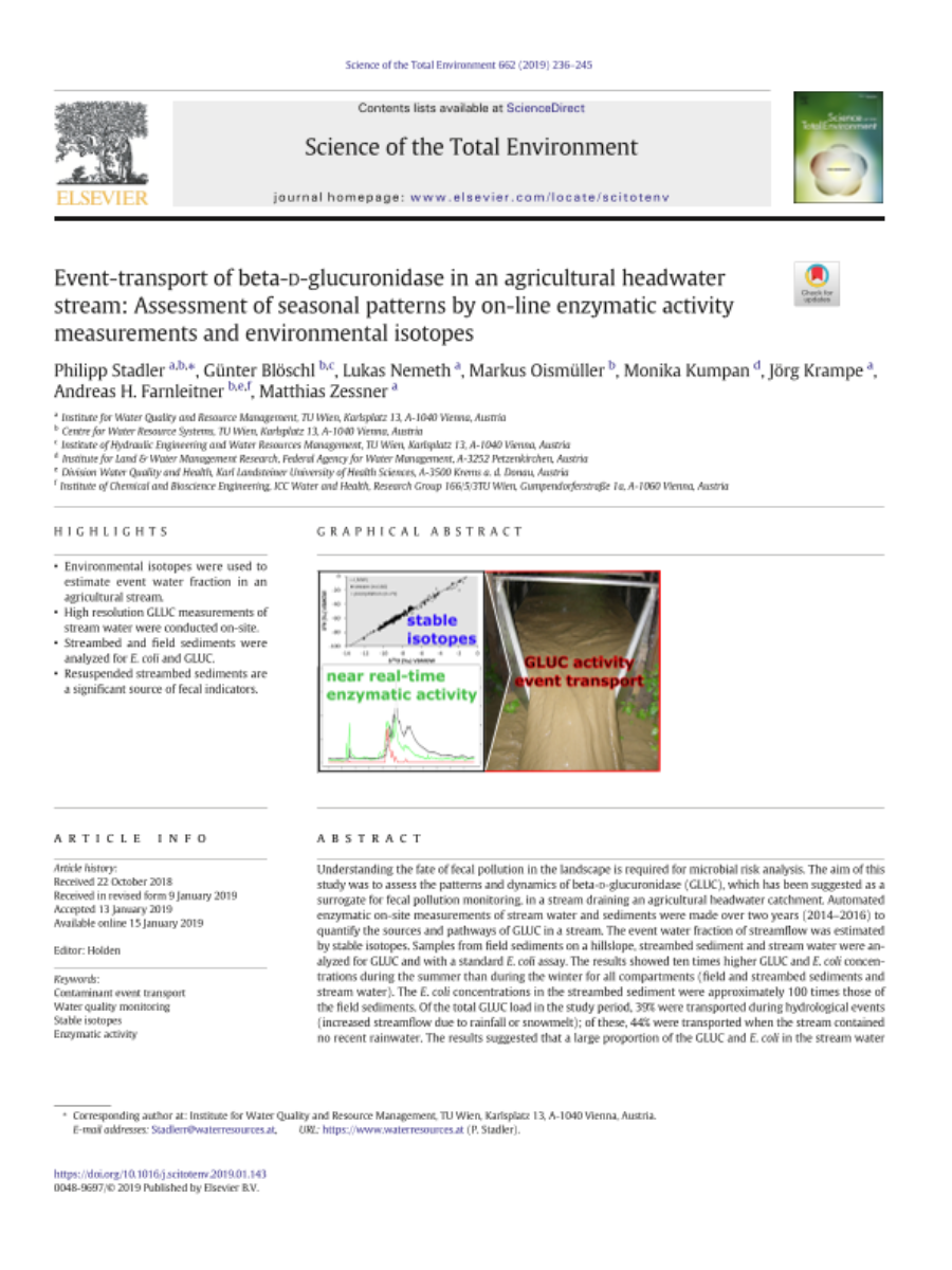 Event-transport of beta-D-glucuronidase in an agricultural headwater stream: Assessment of seasonal patterns by on-line enzymatic activity measurements and environmental isotopes.