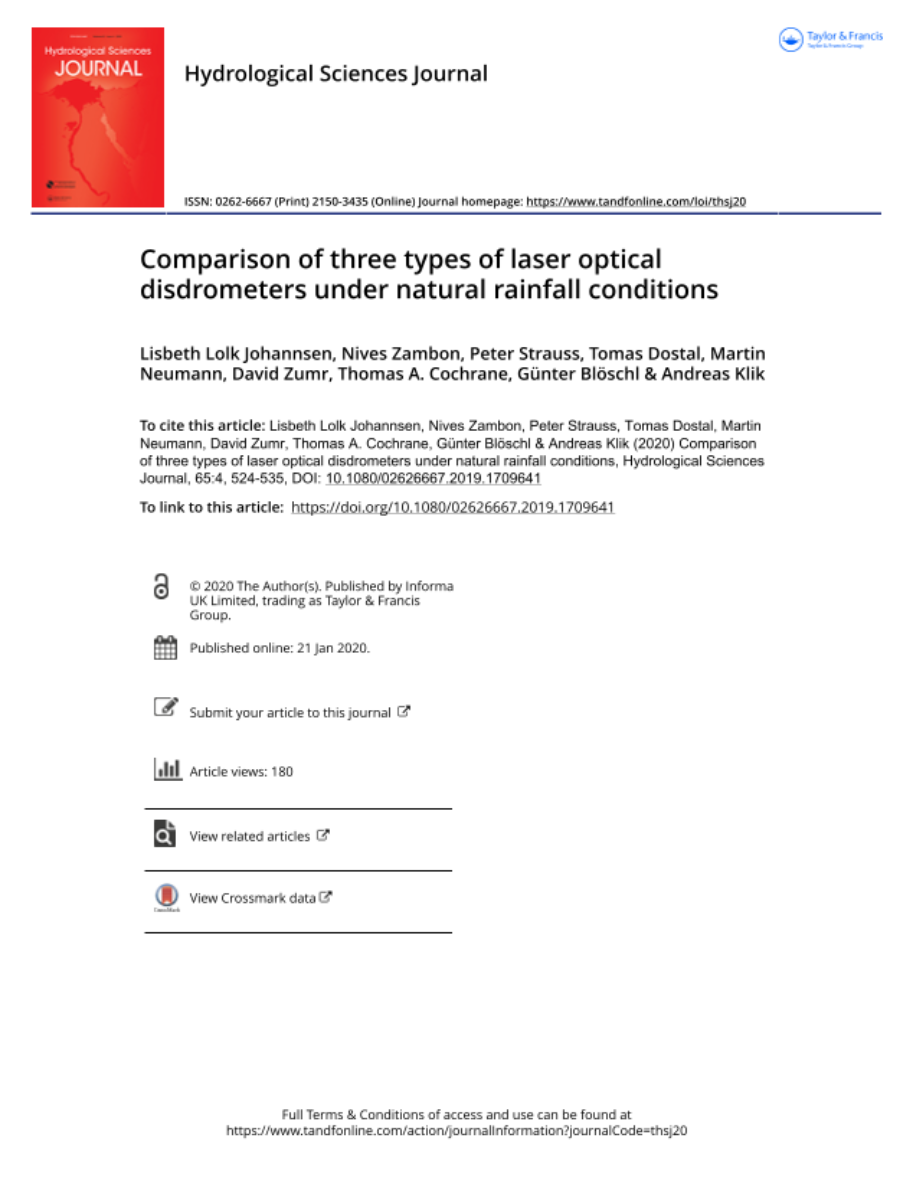 Comparison of three types of laser optical disdrometers under natural rainfall conditions.