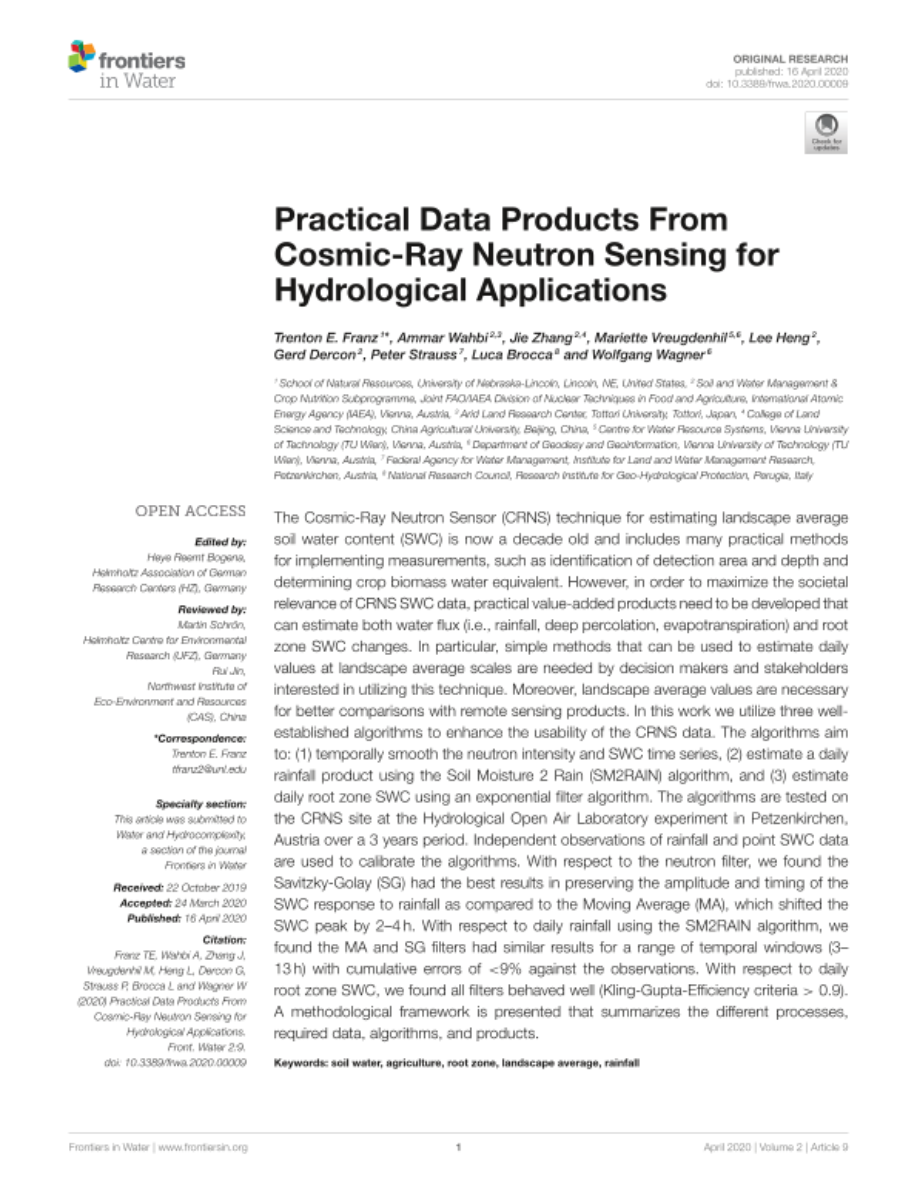 Practical Data Products From Cosmic-Ray Neutron Sensing for Hydrological Applications.